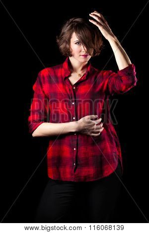 Model Red Flannel Shirt Hand On Head