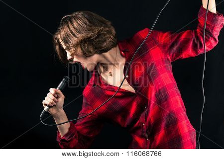 Model Red Flannel Shirt Singing