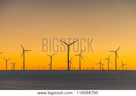 Wind Generators In Sunset