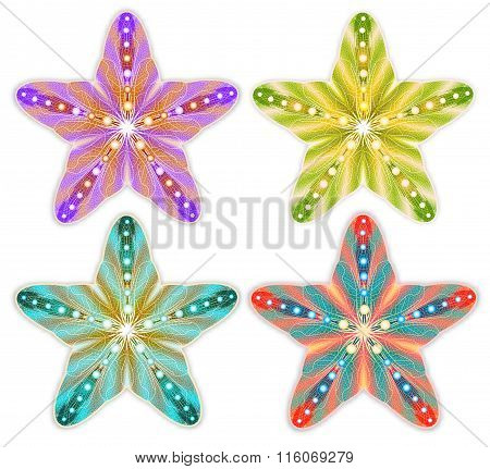 Colorful Starfish Set Isolated. Vector Illustration, EPS10.