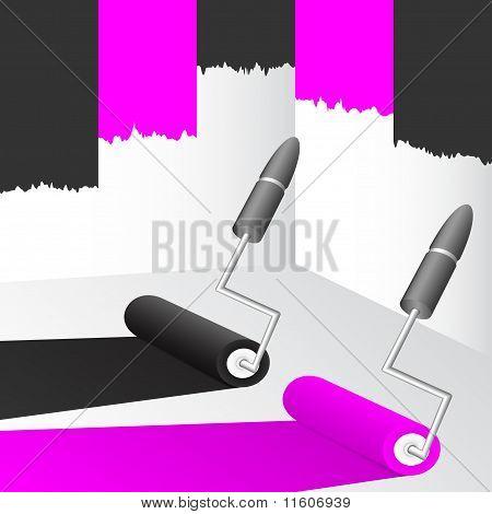 Pintura preta e rosa.