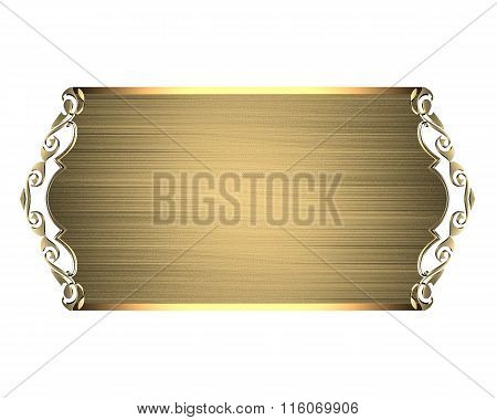 Abstract Gold Plate. Element For Design. Template For Design. Copy Space For Ad Brochure Or Announce