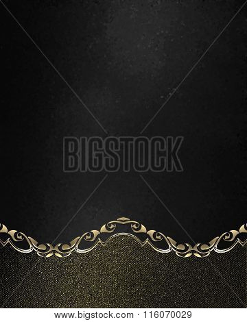 Grunge Black Nameplate With Gold Edges. Element For Design. Template For Design. Copy Space For Ad B