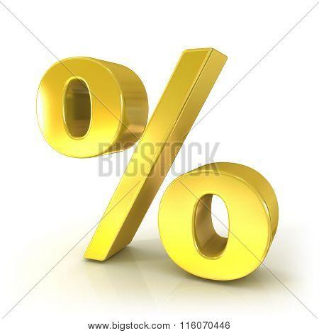 Percent 3d golden sign