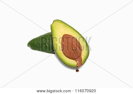 Avocado with chocolate ice cream instead of the seed
