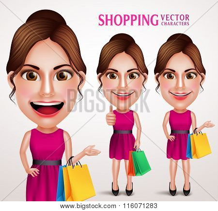 Fashion Woman Vector Character Holding Shopping Bags Wearing Pink Dres