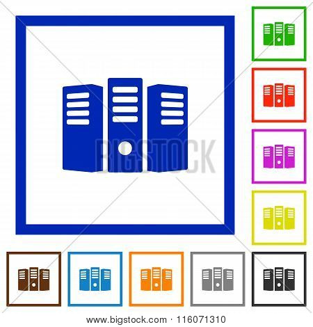 Server Hosting Framed Flat Icons