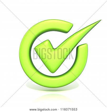 Green correct check mark in circle. 3D