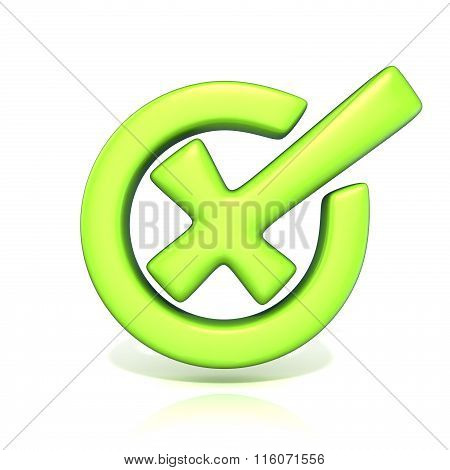 Green incorrect check mark in circle. 3D