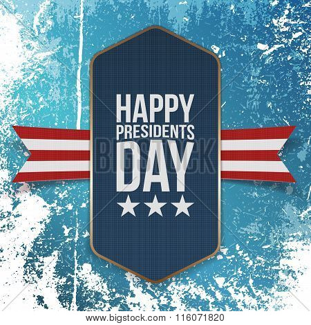 Happy Presidents Day big realistic blue Banner