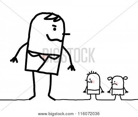 cartoon big man and two small children