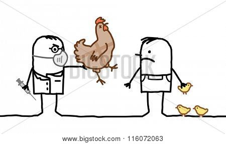 vector cartoon doctor & man with sick chicken and Avian Flu