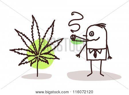 vector cartoon man smoking cannabis