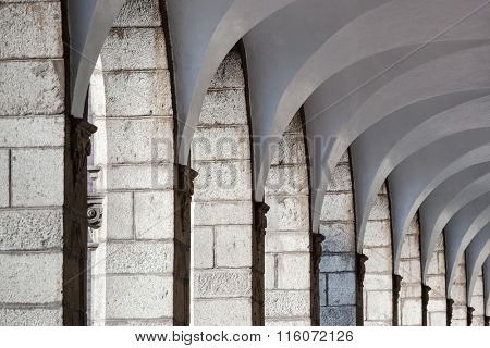 old colonnade with arched ceiling