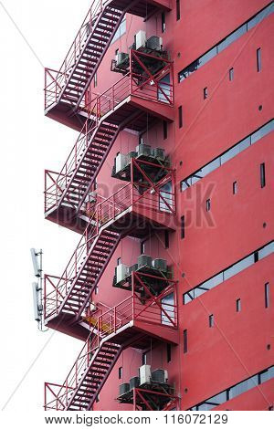 fire escape on a red building