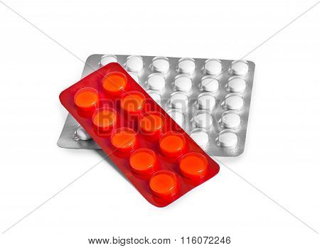 Pills In A Blister Pack Isolated On White