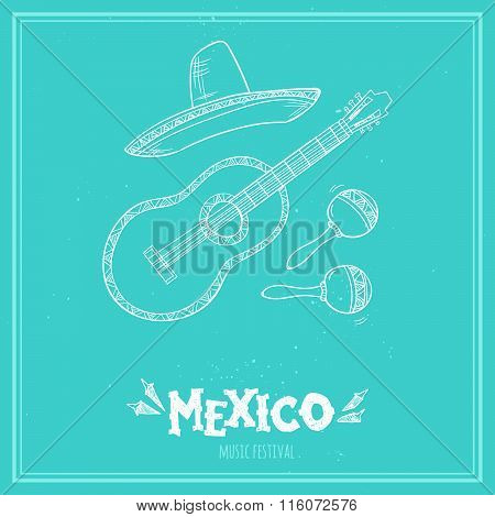 Hand Drawn Vector Illustration - Mexico. Music Festival. Dia Del Santa Cecilia