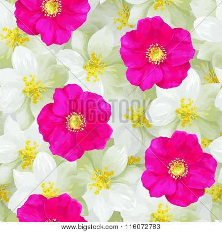 Seamless pattern of jasmine flowers and bright pink wild roses