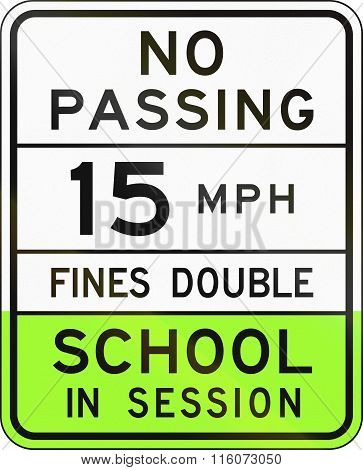Road Sign Used In The Us State Of Arizona - School Speed Limit Sign