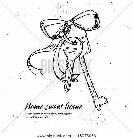 Hand Drawn Vector Illustration - House Keys. Home Sweet Home