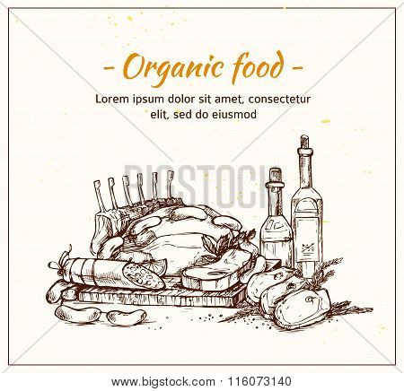 Hand Drawn Vector Illustration - Farm Meat With Herbs And Spice. Organic Food. Supermarket.