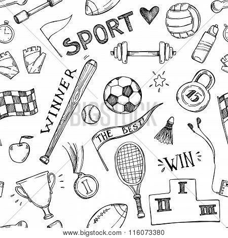 Hand Drawn Vector Illustrations. Sport And Fitness Seamless Pattern. Sketch Background