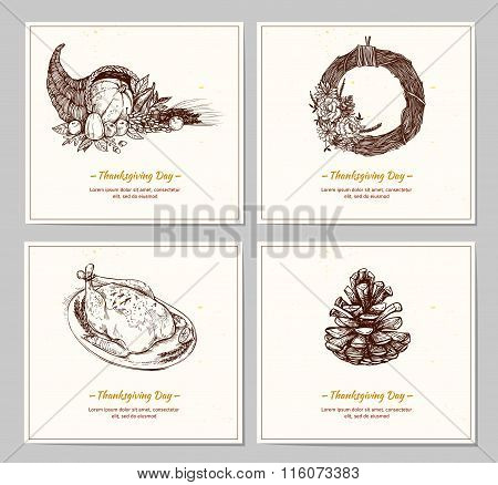 Hand Drawn Vector Illustration - Thanksgiving Day. Design Cards