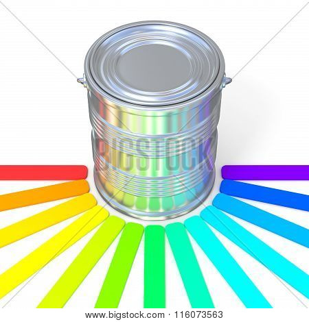 Colors guide reflection on a tin. 3D
