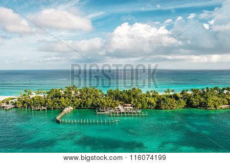 Turquoise Sea And Blue Sky. Nature Landscape Caribbean Sea