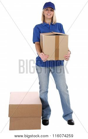 Parcel Delivery Service Box Package Woman Order Delivering Job Full Body Isolated