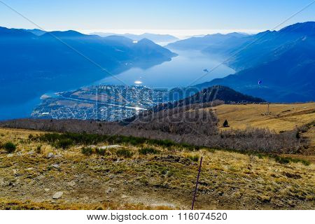 View Of Locarno And Lake Maggiore From The Cardada-cimetta Mountain Range