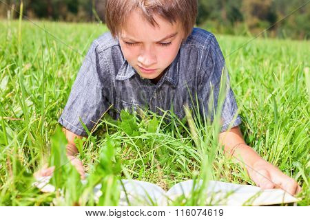 Boy reading a book laying on the sunny meadow in a summer park
