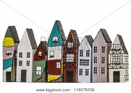 Toy Houses, Isolated On White Background