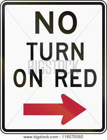 Road Sign Used In The Us State Of Delaware - No Turn On Red