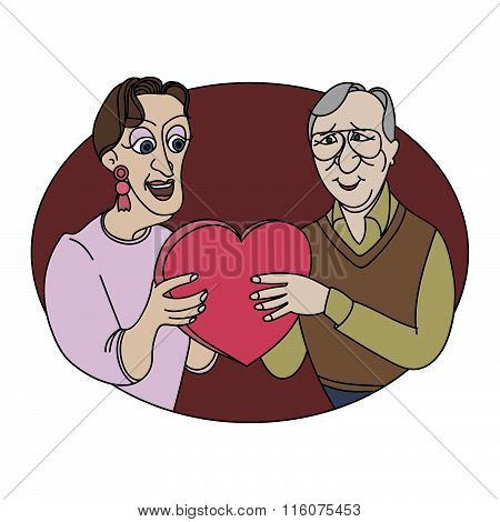 Elderly couple with Gift by day of Valentine