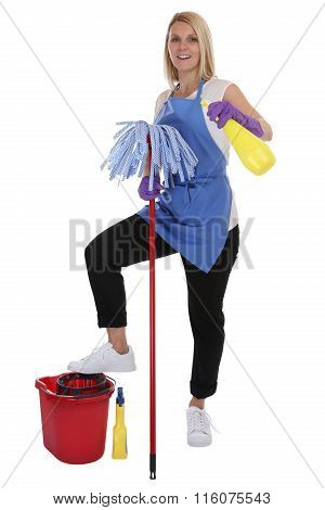 Cleaning Lady Service Cleaner Woman Job Occupation Full Body Isolated