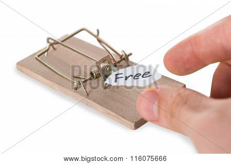 Cropped Hand Reaching Free Sign On Mousetrap