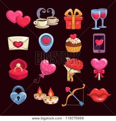 Cartoon love and passion icons