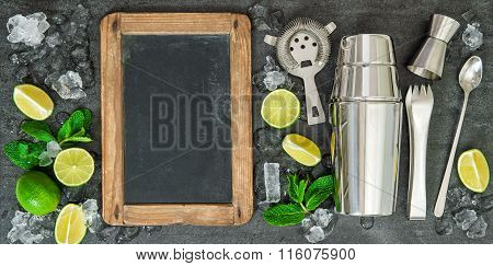 Drink Making Tools Ingredients Lime Mint Chalkboard