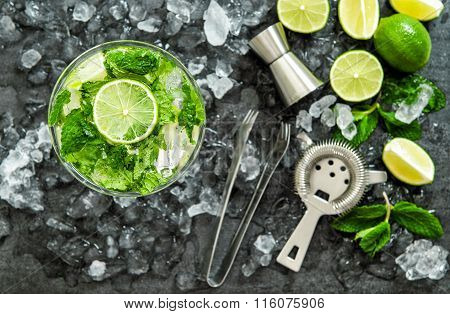 Mojito Cocktail Ingredients. Drink Making Accessories