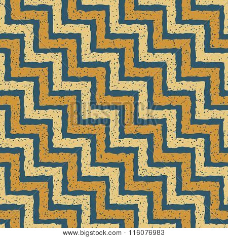 Vector Seamless Blue Yellow Color Hand Drawn Zigzag Distorted Step Lines Grungy Retro Chevron Patter