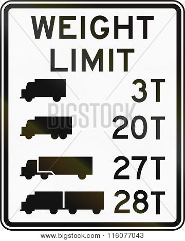 Road Sign Used In The Us State Of Delaware - Truck Weight Limits