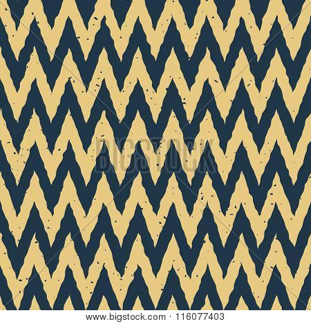 Vector Seamless Blue Yellow Color Hand Drawn Zigzag Distorted Lines Grungy Chevron Pattern