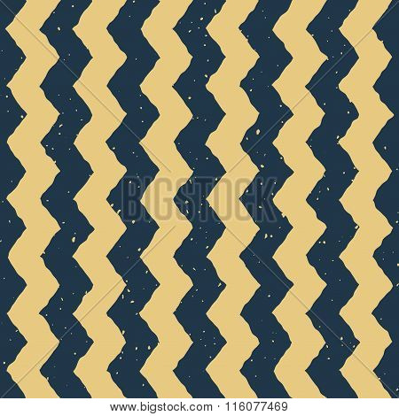 Vector Seamless Blue Yellow Color Hand Drawn Vertical Zigzag Distorted Lines Grungy Chevron Pattern