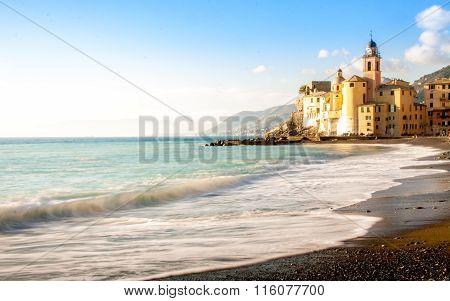 Church On The Beach In Camogli, Near Genoa, Italy
