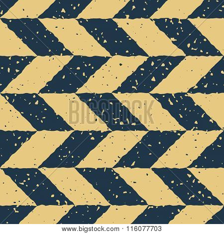 Vector Seamless Blue Yellow Color Hand Drawn Checker Distorted Parallelograms Grungy Retro Pattern