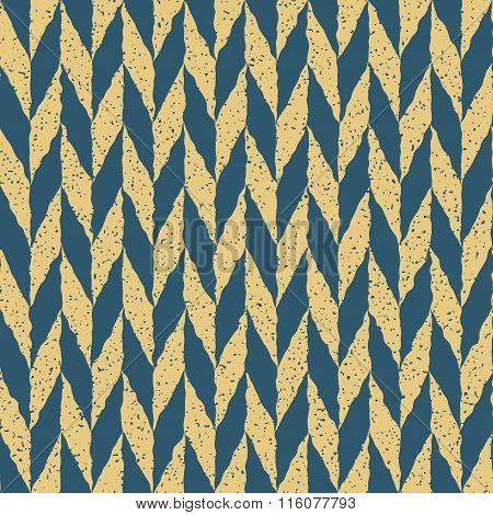 Vector Seamless Blue Yellow Color Hand Drawn Checker Distorted Parallelograms Grungy Arrows Pattern