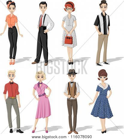 Group of retro people wearing vintage clothes.