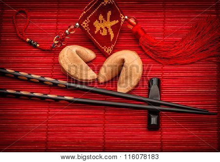 Asia Style Background Lucky Charm, Fortune Cookies Chopsticks