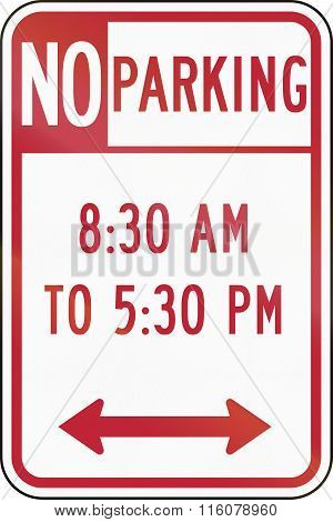 Road Sign Used In The Us State Of Delaware - No Parking
